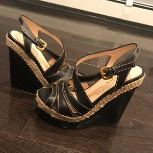 Black with white stitch Prada wedge